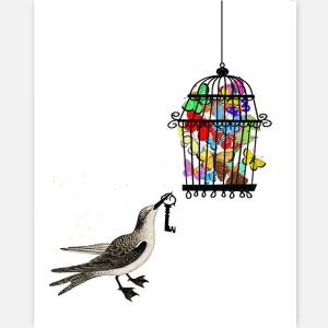 Photo - bird cage butterflies